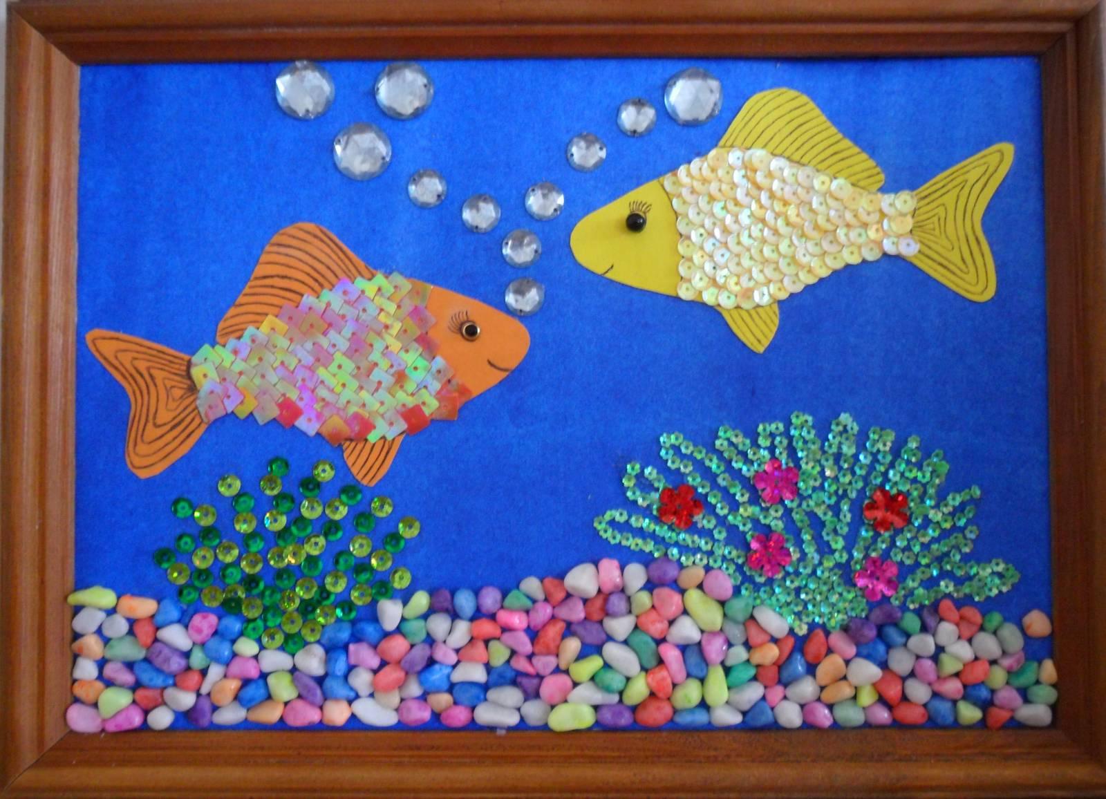 Поделки из бумаги рыбки в море